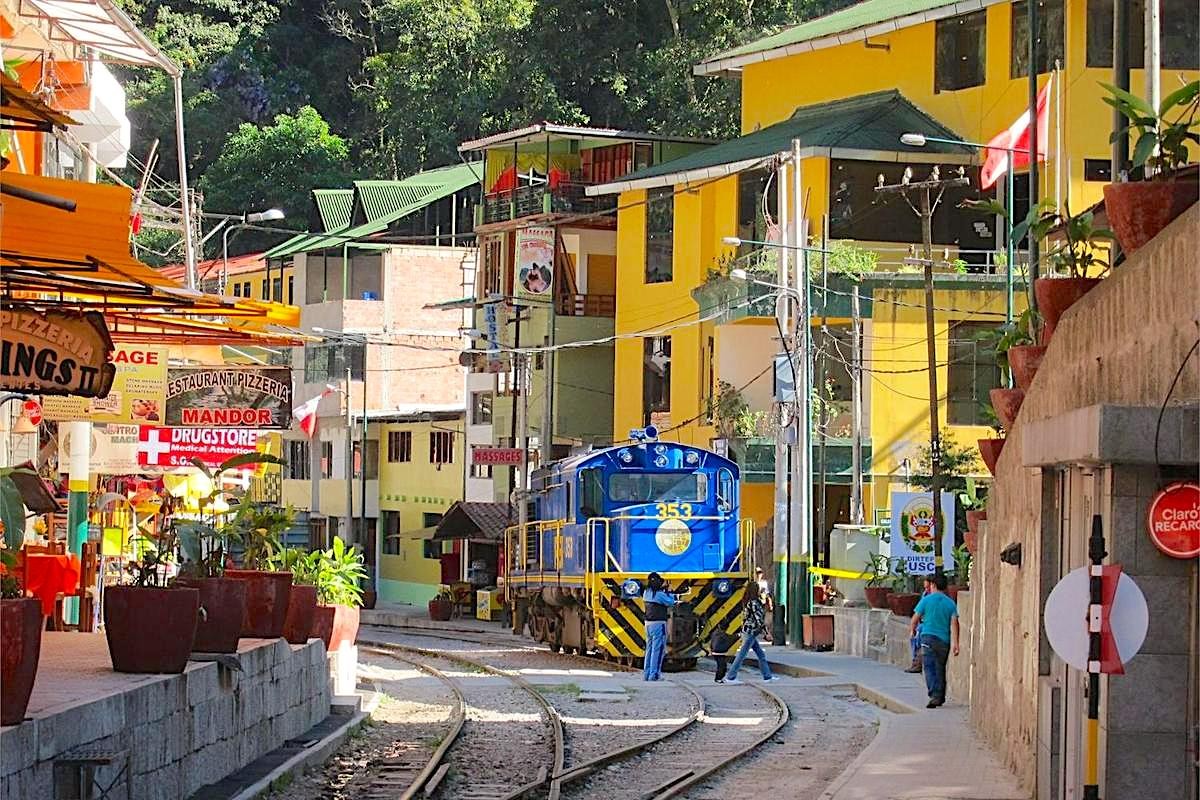 Aguas Calientes is a few miles from Machu Picchu, with 40 hotels and a train station